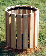 Trash Can Receptacle with Recycled Plastic Slats