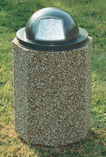 Enclosed Dome-Top Trash Receptacle - 55 Gal
